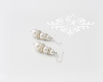 Wedding Jewelry Wedding Earrings Bridal Earrings Bridesmaid Earrings Dangle Earrings 925 sterling silver Swarovski Pearl earrings