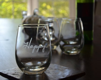 Stemless Wine Glasses - Personalized Etching