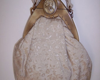 Early 1920s Purse - CELLULOID CAMEO FRAME - Ivory Damask Purse - Antique - Vintage