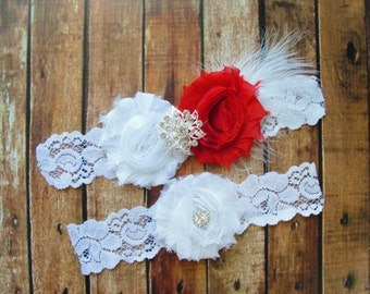 Red Bridal Garter Set, Wedding Garter, Toss Garter, Feather Garter, Lace Garter, Crystal Garter, White Lace
