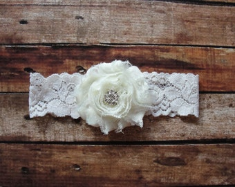 Keepsake Garter, Bridal Garter, Ivory Lace Wedding Garter, Ivory Crystal Garter, Vintage Garter, Something New