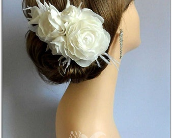 Wedding Hair Accessories - Flower Headpiece, Wedding Hair Flowers, Handmade Fascinator, Birdcage Veil, Vintage Headpiece