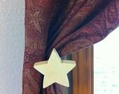 Star Shape Curtain Holdback - Detachable Wood Face-Plates(TM)