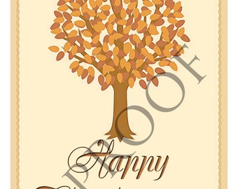 Elegant Fall Thanksgiving Tree Digital Download Print Card Wine Label Gift Tag