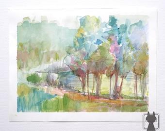 Trees at the lake - sunrise - original watercolor painting