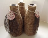 Set 3 Nautical Theme/ Vase Wrapped in Rope and Sea Fan 6 x 8.3 Inches / Rustic /Supply / Gift under 20