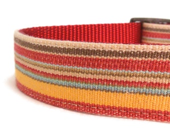 Red Striped Dog Collar - Preppy Dog Collar - Matching Leash Available