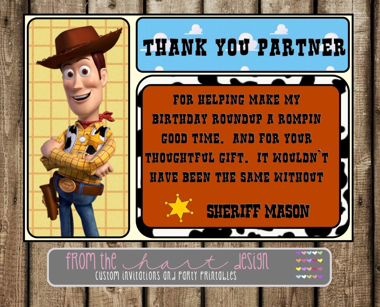 Disney Sheriff Woody Birthday Party Thank You Toy Story