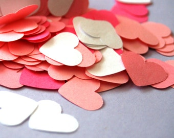 150 small paper HEARTs, Die cut Heart, die cut paper hearts, heart garland, small hearts, wedding confetti, pink heart shaped, paper garland