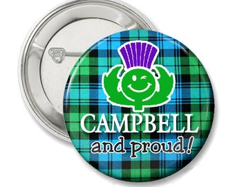 Campbell and Proud, Scottish Pride tartan button or magnet