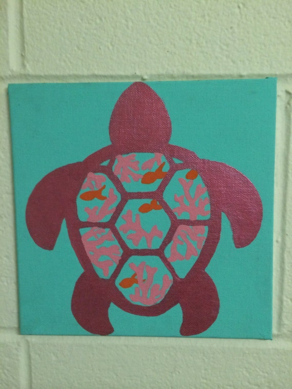 Items similar to Cute turtle canvas painting on Etsy - photo#36