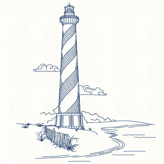 Cape Hatteras Lighthouse Line Drawing Sketch Coloring Page   Cape Fear Lighthouse Line Drawing