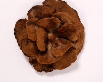 Brown felted brooch merino wool flower
