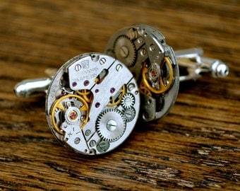 Watch Movement 20mm Cufflinks Steampunk Vintage Wedding Groom Gift Mens Retro Present