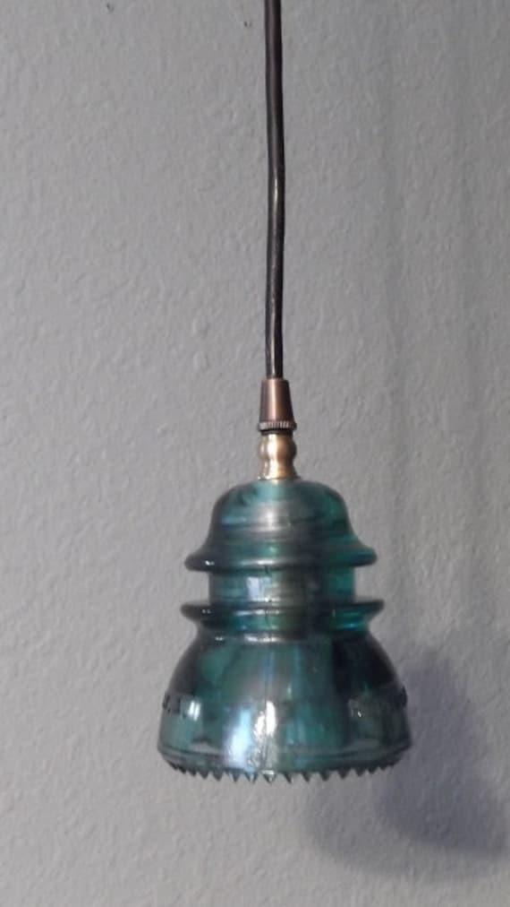 Vintage Glass Insulator Pendant Light