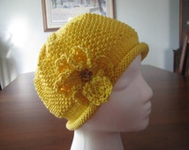 Instant Download Knit Hat Chemo Hat Knitting pattern ' Amelia'  for chemo hat with crocheted flower trim.