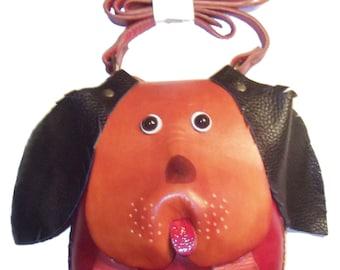 Dog Toys Leather Shoulder Bag - Forrest the Hound Dog - Handmade Design Brown Print - Black Floppy Ears - Kids Boy Girl Children Item -#1229