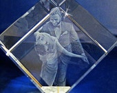 3D Crystal Photo Cube wit...
