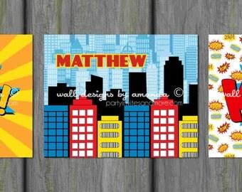 Superhero Wall Art, Superhero Wall Decor, Personalized Wall Art, Comic Book Wall Art, Printable Wall Art, Design 003
