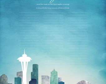 Contemporary Custom Quaker Marriage Certificate Seattle Skyline