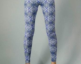Leggings digitally printed, Designer pattern \ TEMPLE CORNFLOWER  LEGGINGS\ Limited Edition