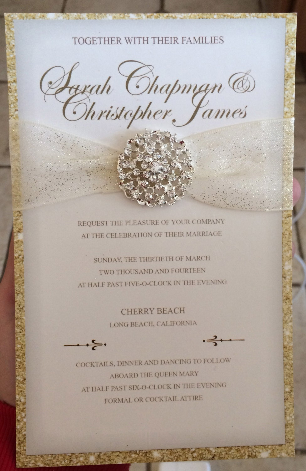 Luxurious gold glitter wedding invitation by for Luxury wedding invitations dubai