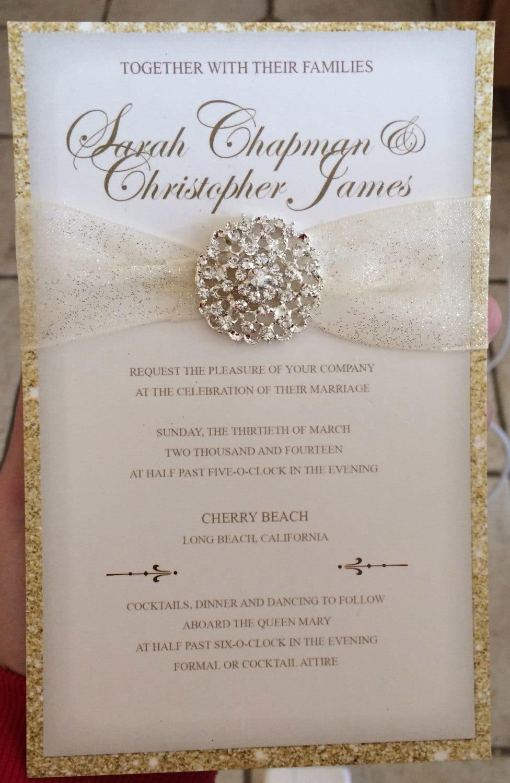 Luxurious Gold Glitter Wedding Invitation By LovelyStationerybyS