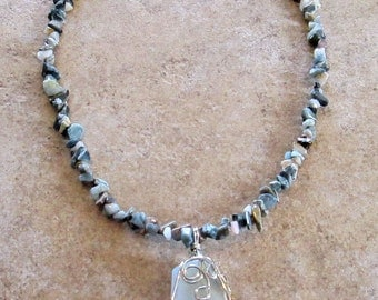 Agate Pendant with Cats Eye Gemstone Necklace