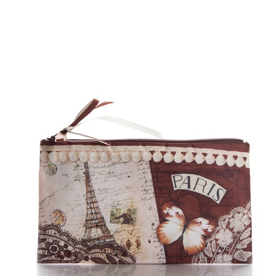 items similar to cosmetic bag paris with butterflies travel bag make up bag bridesmaid. Black Bedroom Furniture Sets. Home Design Ideas