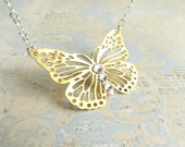 Butterfly Necklace Gold Silver Rhinestone Butterfly Necklace Butterfly Pendant Necklace