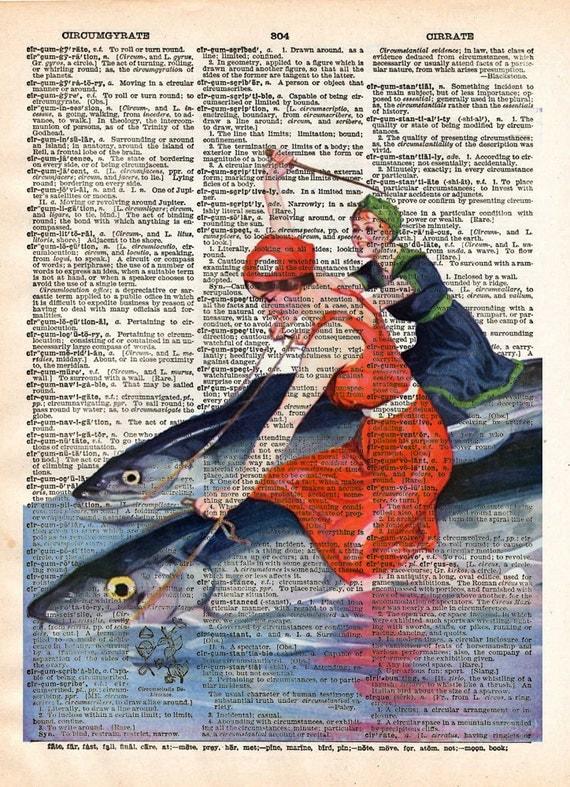 Art du Vintage 1900, plage femmes poisson, vintage dictionnaire page livre art impression d