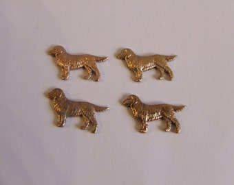 10 Vintage Retriever Dogs, Jewellery Findings Gold Plated