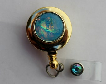 Iridescent Button Gold ID Badge Holder