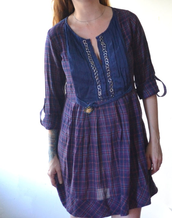 Upcycled Plaid Dress - Plaid Shirt Dress - Spring Shirt Dress - Ecofriendy Clothing - Up-cycled Clothing