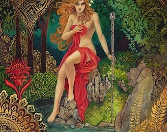 Empress Tarot Goddess of Abundance 5x7 Greeting Card Pagan Mythology Psychedelic Bohemian Gypsy Goddess Art
