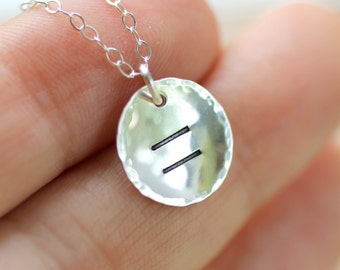 Equality Necklace, Marriage Equality Necklace, Gay Marriage Necklace, Same Sex Marriage, Human Rights, Equal Rights, Sterling Silver Pendant