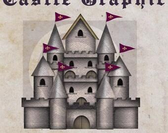 Instant Download, Castle Graphic, Castle PNG Digital Download File, Castle Clip Art, Graphics, Clipart