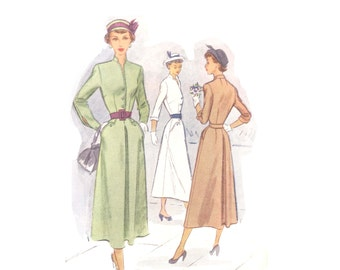 40s New Look Dress pattern Day Dress Vintage 32-26.5-35 Fit and Flare Hourglass dress pattern mccalls 7721 mccall 7721