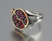 POMEGRANATE garnet 14K gold and silver ring