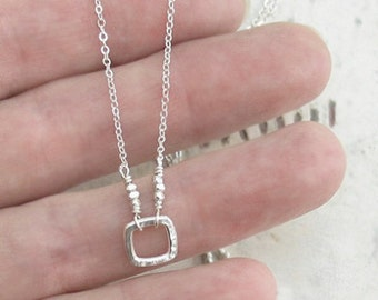Tiny Square Sterling Silver Necklace Hammered Cutout Circle Squared Chain DJStrang Boho Chic Minimalist