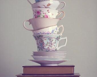 Fine Art Print, Teacup Photo, Book Art, Pastel, Whimsical Art, Still Life Photo, Cafe Art, Wonderland, Kitchen Art, Book Photo, Tea Print