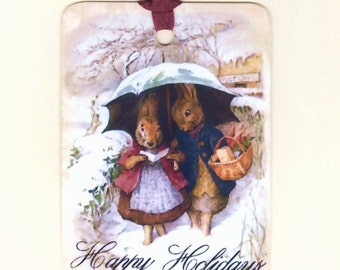 Happy Holidays Tags , Rabbit Tags, Christmas Tags , Snow , Vintage Tags