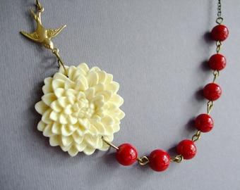 Wedding Necklace,Ivory Flower Necklace,Floral Necklace,Ivory Necklace,Red Necklace,Bridesmaid Necklace,Gift,Bib Necklace,Statement Necklace