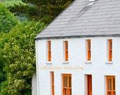 Colorful House with Dog in Co. KERRY, IRELAND Landscape Photo, Animal Lover, Orange and White, Spaniel, Cottage Decor, IRISH Country Scene