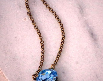 Swarovski crystal aquamarine/indicolite oval  fancy stone pendant necklace