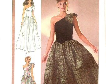 Simplicity 7842 One Shouldered Evening Party Prom Dress Size 10
