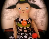 """PRIMITIVE WiTcH doll """"Mary Whipple"""" with Halloween Pumpkin"""