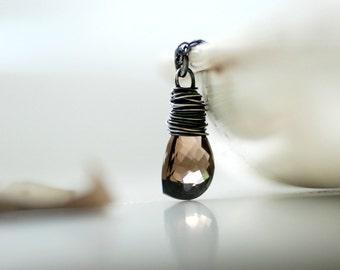 Marquis Pendant, Smoky Quartz Necklace, Quartz Pendant, Quartz Gemstone, Gemstone Necklace, Checkerboard Quartz, Autumn Jewelry - Chocolate