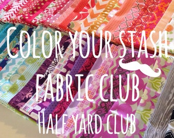Color your stash fabric club membership with free Aurifil thread- Join today-12 Half Yards per month