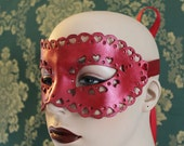 Little Red Heart - Hand Punched Red Leather Mask. - To order
